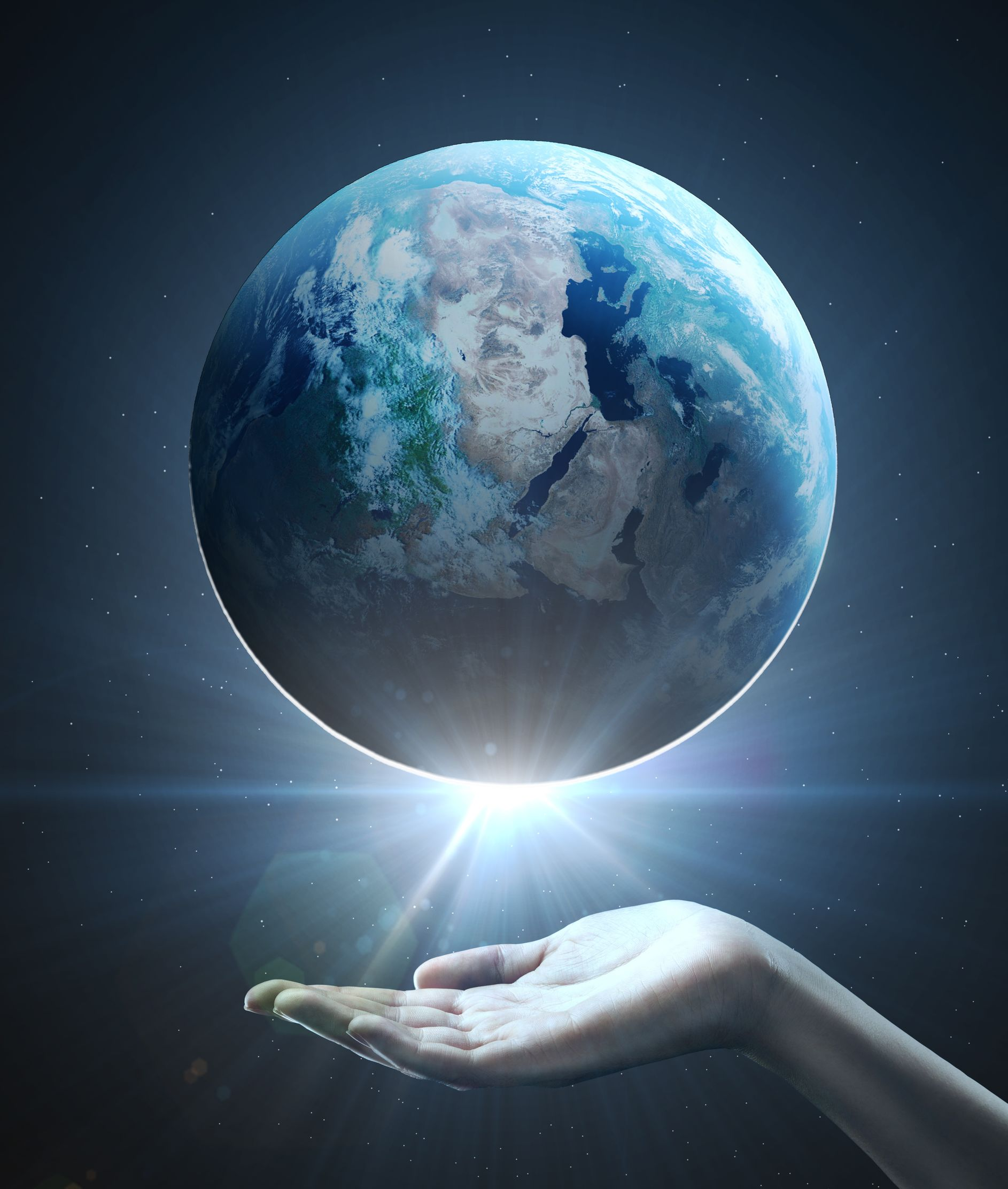 20523250 - hand holding earth, space concept